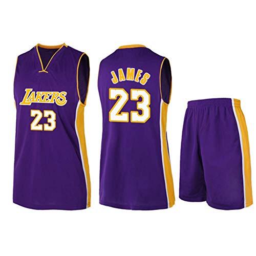 CAMILYIN Camiseta de Baloncesto para Hombre, NBA Los Angeles Lakers #23 Camiseta de Baloncesto Bordada sin Mangas Retro Unisex, Chaleco Deportivo para Gimnasio Pantalones Cortos para Fans,Púrpura,M
