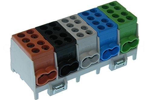 Hauptleitungs Abzweigklemme 5 polig für Hutschiene - Strom Verteiler mit VDE