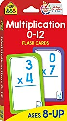 multiplication flash cards for 0 - 12
