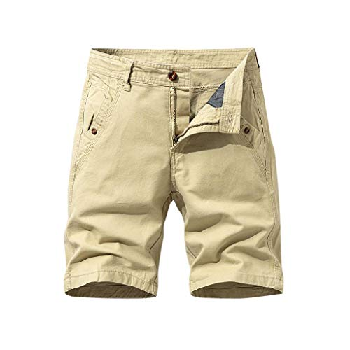 Cargo-Shorts Herren Sommer Button Freizeithose Multi-Pocket Overalls Shorts Fashion Kurze Hose, Khaki, 36W