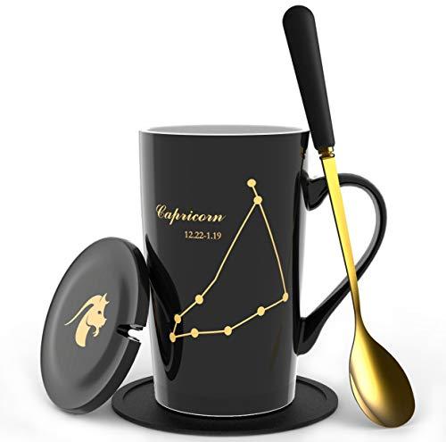 Fullcci - 425 ml kreatives Sternbild Steinbock Kaffeebecher-Set Kapazität Upgrade Teetasse für Kakao, Wasser, Milch, Saft (Steinbock-Schwarz)