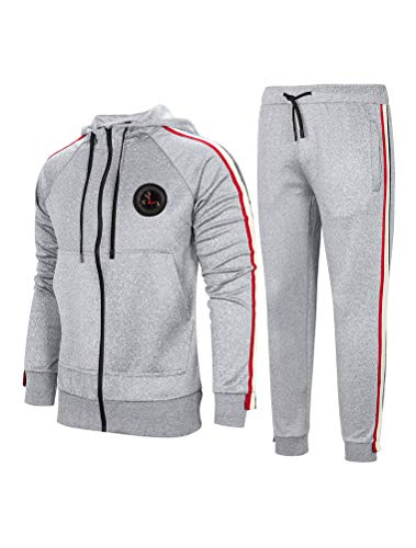 PASOK Men's Casual Tracksuit Set Long Sleeve Full-Zip Running Jogging Athletic Sweat Suits (XL, Style 2 Light Gray)