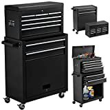 High Capacity 8-Drawer Rolling Tool Chest 2in1 Portable Tool Box Organizer with Drawers and Wheels, Garage Removable Tool Storage Cabinet (Black)