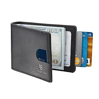 Men's Leather Wallet,RFID Blocking Slim Bifold Geniune Leather Wallet ULTRA SLIM DESIGN - Minimalist leather wallet(Black)