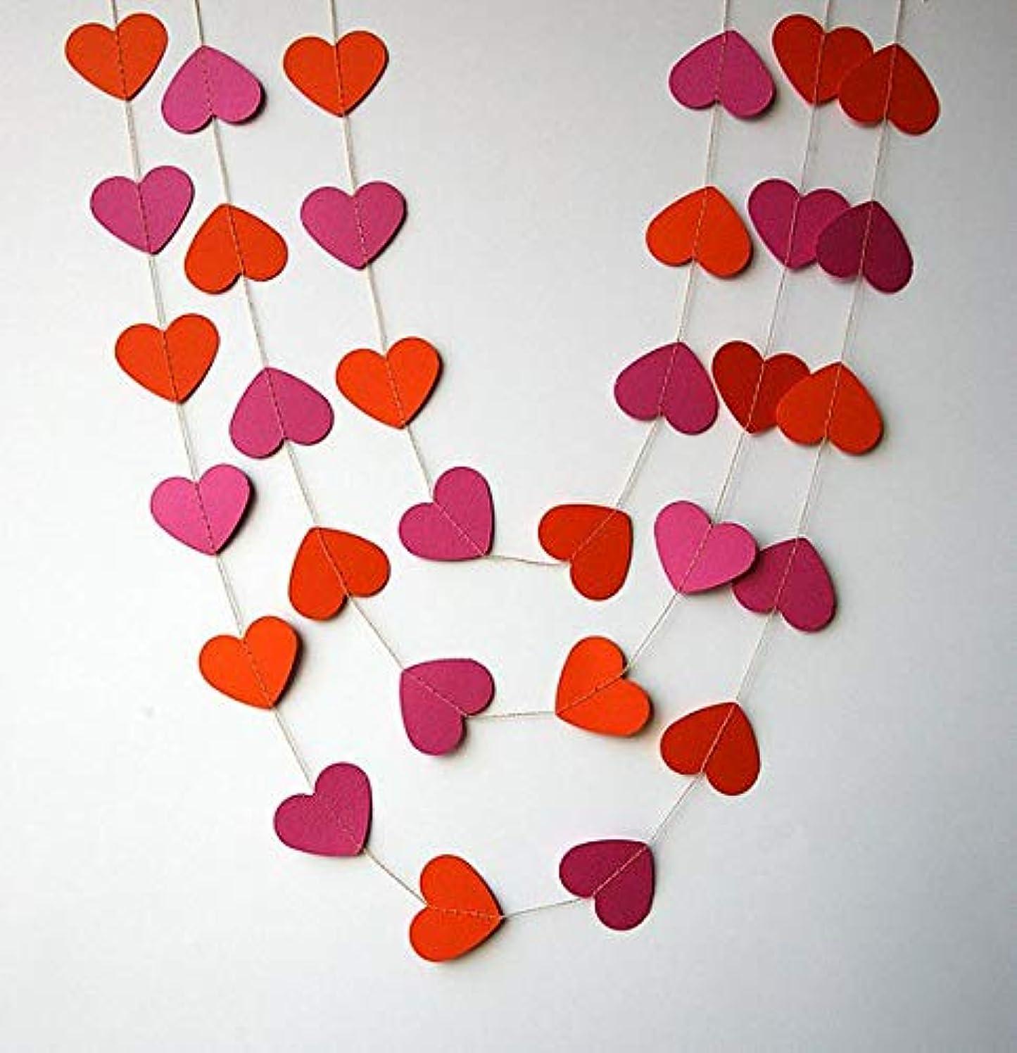 Pink & Orange Heart 10ft Party Paper Garland, Birthday Party Decor, Wedding Shower Decor, Nursery Décor