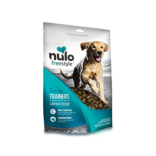 Nulo Puppy & Adult Freestyle Trainers Dog Treats: Healthy Gluten Free Low Calorie Grain Free Dog Training Rewards - Salmon Recipe - 4 Oz Bag