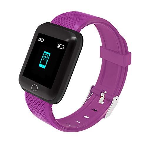 oneforus Écran TFT Bracelet Intelligent Fréquence Cardiaque Pression Artérielle Oxygène Sanguin Mode Multisports Montre BT IP67 Bracelet de Requête Bidirectionnel étanche 1,44 Pouces,Purple