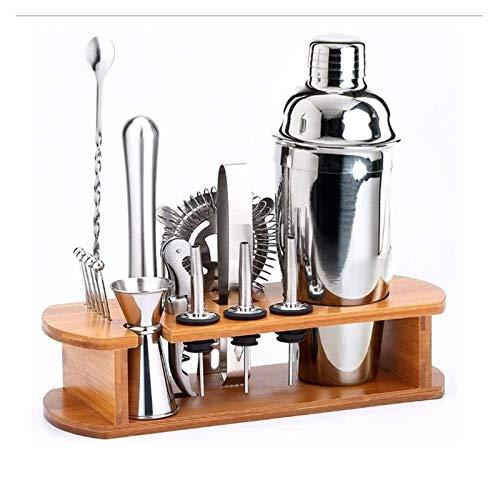 SFLRW Coctel Shaker Set Bartender Kit, kit de barras de 16 piezas, coctelera de martini de 700 ml, cuchara de mezcla, doble jigger, vulneros de licor, muddler, colador y pinzas de hielo, herramientas