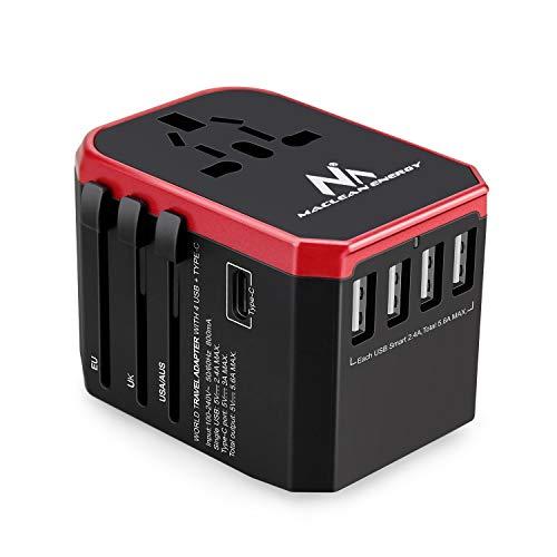 Maclean MCE238 Universal Weltweit Reiseadapter mit 4xUSB 2.4A + USB-C 3A - 8A Quick and Fast Charge 150 Länder der Welt