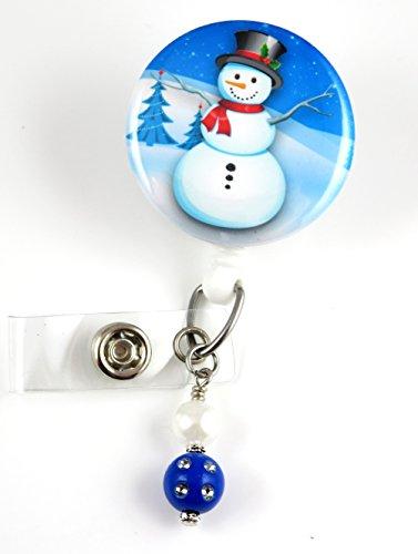 Christmas Snowman with Tophat & Trees Mylar- Nurse Badge Reel -Retractable ID Badge Holder - Nurse Badge - Badge Clip - Badge Reels - Pediatric - RN - Name Badge Holder