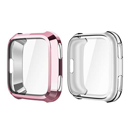 Fintie Hülle kompatibel mit Fitbit Versa Gesundheits- & Fitness Smartwatch - [2 Stück] Ultra-Dünn Leichte Hochwertige Polycarbonat Harte Schutz Gehaüse Abdeckung, Roségold/Transparent