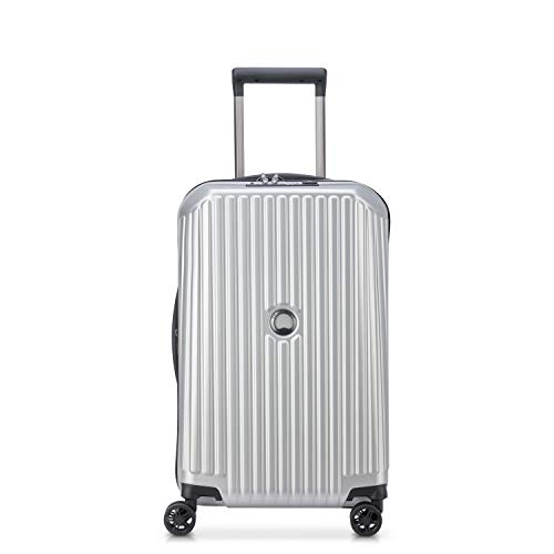 DELSEY Paris Securitime Expandable Luggage with Spinner Wheels, Silver, Carry-On 19 Inch