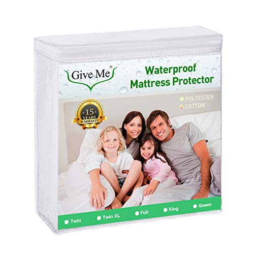 Give Me Queen Size MattressProtector, 100% Waterproof Mattress Pad Cover - Breathable Smooth Soft Cotton Terry Surface Matress Protector,Bed Bug or Dust Proof - Fits 14'-18' Deep