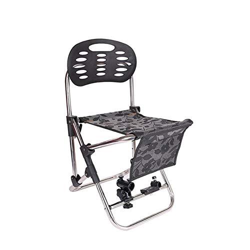 ch-AIR Chaise De Pêche avec Tourelle Multi-Fonction Pliable Et Portable Chaise De Pêche Lit Pliant Chaise De Pêche Tabouret De Pêche De Loisir (Color : Black)
