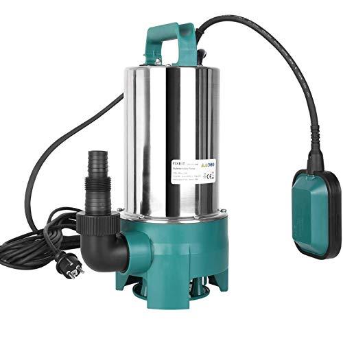 FIXKIT Bomba de Aguas SuciasBomba Sumergible de agua 1100W,20000L/H Máximo,35 mm Tamaño Máximo de Partícula de Entrada con Asa de Transporte