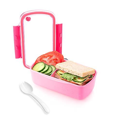 Brotdose mit herausnehmbarer Trennwand I Lunchbox Kinder I Snackbox Erwachsene I Vorratsdose mit variablen Fächern I BPA Frei I auslaufsichere Vesperdose I Rosa