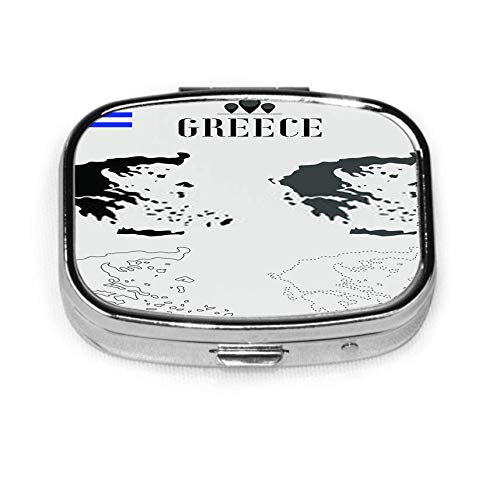 Greece Outline World Map Solid Dash Line Contour Silhouette C Pill Box Case with 2 Components Metal Portable Vitamin Pill Organizer for Pocket,Purse,Daily Needs and Travelling