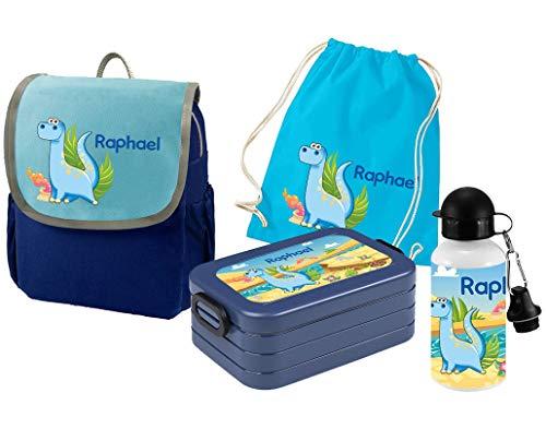 Mein Zwergenland Set 5 Kindergartenrucksack mit Brotdose, Turnbeutel und Trinkflasche Happy Knirps Next mit Name Dino, 4-teilig, Blau
