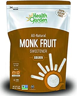 Health Garden Monk Fruit Sweetener, Golden - Non GMO - Gluten Free - Sugar Substitute - Kosher - Keto Friendly (3 lbs)