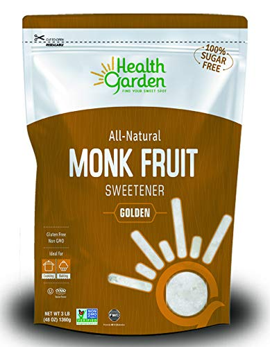Health Garden Monk Fruit Sweetener, Golden - Non GMO - Gluten Free - Sugar Substitute - Kosher - Keto Friendly (3 lbs)