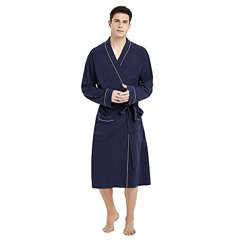 U2SKIIN Mens Cotton Robe Lightweight Knit Bathrobe(Navy Blue, L/XL)