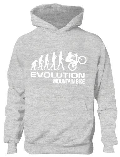 Mountain Bike/Biker ~ Evolution von ~ Kinder/Mädchen/Jungen Kapuzenpulli in 6Farben ~ Alter 5–13 Gr. 12 Jahre, grau