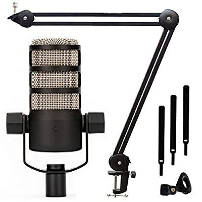 Rode Podmic - Professional Podcast Microphone + Keepdrum MS138 Microphone Arm Table stand