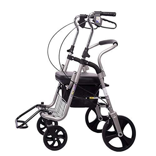 Shopping Bags Walker Small Cart Old Cart Grocery Shopping Cart Wheelchair Pushable Can Sit Elderly Folding Walker Four-wheel Shopping Cart/Scooter Load Give The Best Gift for The Elderly Shopping,100k