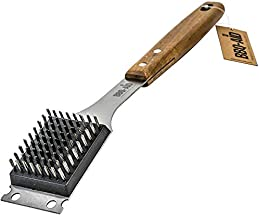 BBQ-AID Barbecue Grill Brush and Scraper – Extended, Large Wooden Handle and Replaceable Stainless Steel Bristles Head – Safe, No Scratch Cleaning - Best for Any Grill: Char Broil & Ceramic