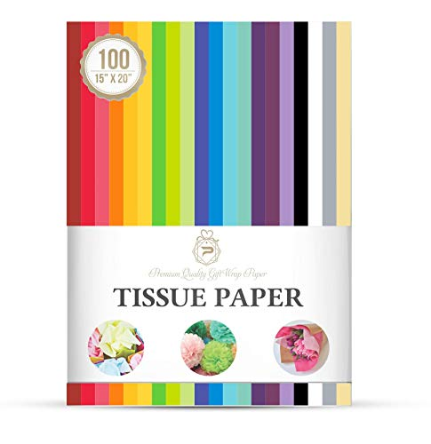 "Tissue Paper for Gift Bags Assorted 20 Colors Gift Wrap for Packaging, Floral, Birthday, Christmas, Halloween, DIY Crafts and More 15"" X 20"" 100 Sheets"