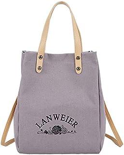 SODIAL New Ins Canvas Bag Female Literary Han Fan Ulzzang Students Simple Versatile Canvas Bag Shoulder Bag Black