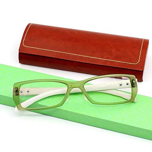 Equipo Gafas de lectura,Protección radiológica Anti-fatiga Los lectores de moda Marco completo Hd Peso ligero Unisex-verde +2.0