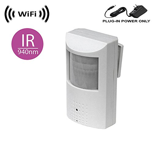 WF-450-IR Wireless Spy Camera with WiFi Digital IP Signal, Recording & Remote Internet Access. (Camera Hidden in PIR Motion Detector) w/ 940nM total Invisible 30ft Night Vision (Full view, no hotspot)