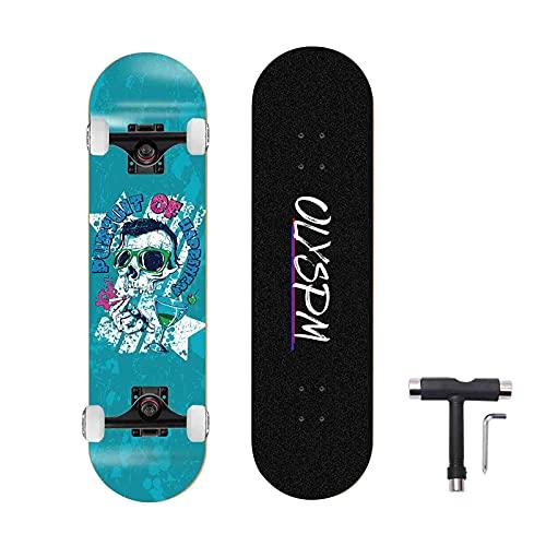 OLYSPM Skateboards,31 x 8 Skateboard Completo de Doble Patada para Principiantes,7 Capas de Arce canadiense Monopatín Cóncavo para NiñosArce con rodamientos ABEC-9 para Niñas Niños Adolescentes Adulto