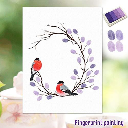 Vingerafdrukken, de gelukkige vogel-zeildoek-schilderij met inktlaag, muur-kunst-decoratie.