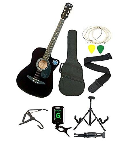 Jixing JXNG-BLK-SC1,Black Acoustic Guitar with Kadence Foldable Guitar Stand,Kadence Tuner,Kadence String,Kadence Strap,Kadence 3 Picks,Kadence Bag & Kadence Capo