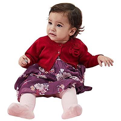 PETIT CLAN Baby Girl Cardigan Sweater Long Sleeve Flower Decorative at Chest Purplish Red
