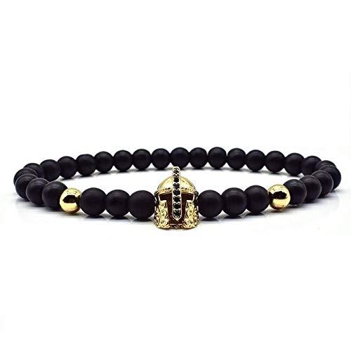 CHCO Armband Crown Lion Armband Männer Frauen 6Mm Stein Matte Perlen Charme Mode Armband Für Männer Frauen Klassische Schmuck Geschenk Gold Helm