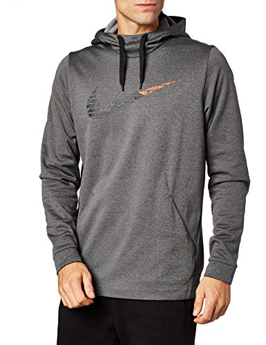 Nike Men's Therma Dri-Fit Swoosh Graphic Training Hoodie (Charcoal Heather, Large)