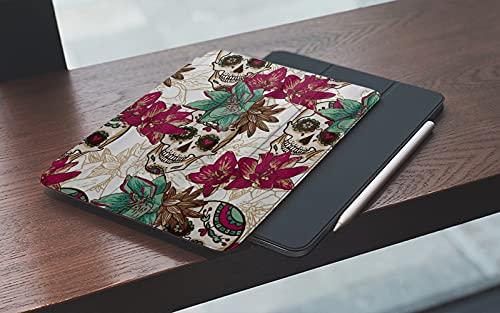 MEMETARO Funda para iPad (9,7 Pulgadas 2018/2017 Modelo), Dia De Los Muertos Vintage Flower Calavera De Azúcar Smart Leather Stand Cover with Auto Wake/Sleep