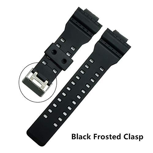 RSB 16mm Siliconen Rubber Horloge Band Band Fit Voor Casio G Shock Vervanging Zwart Waterdichte Horlogebandjes Accessoires (Band Kleur: Zwart Matgesp)