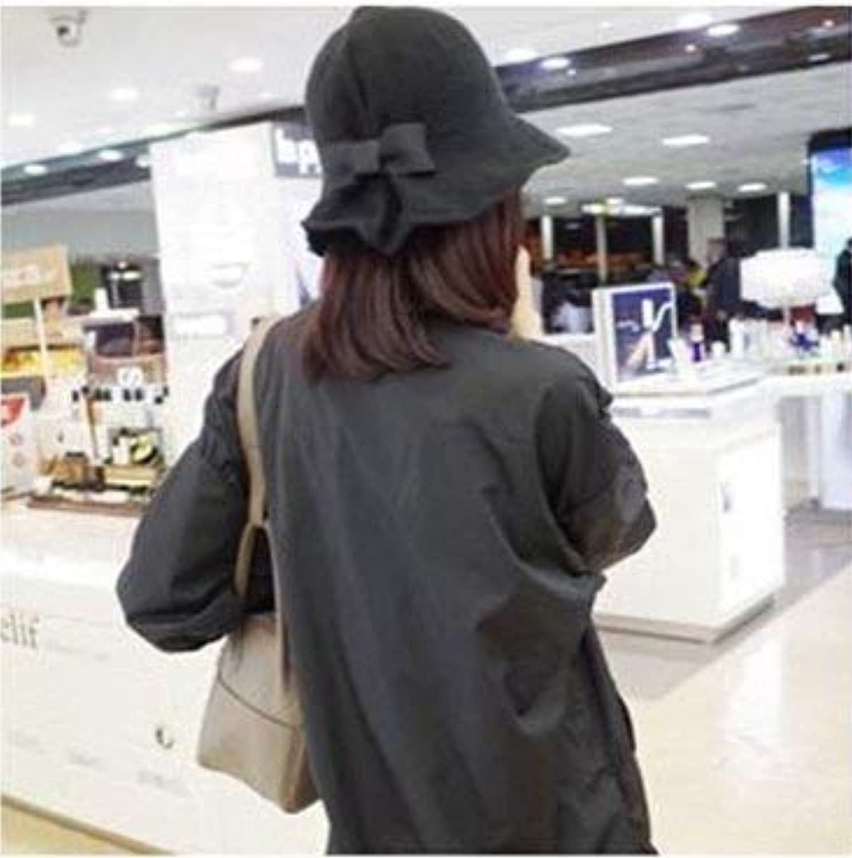 Dingkun Shade fisherman hat female summer cotton and linen bow basin hat big along the hat visor folding sun hat