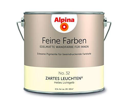 Alpina 2,5 L. Feine Farben, Farbwahl, Edelmatte Wandfarbe für Innen (No.32 Zartes Leuchten - Helles
