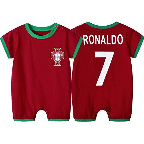 WQJIE (Rood # 7 Ronaldo Korte mouwen baby jumpsuit, voetbal romper, baby lente en zomer sportkleding, zomer baby kleding romper Retro 3yearsold Kleur