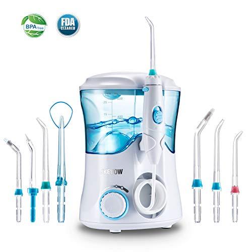 Idropulsore Dentale Professionale con 7 Beccucci, Jkevow Irrigatore Orale Elettrico con 10 Impostazioni per la Pressione dell'Acqua, Cura Dentale,Approvato dalla FDA