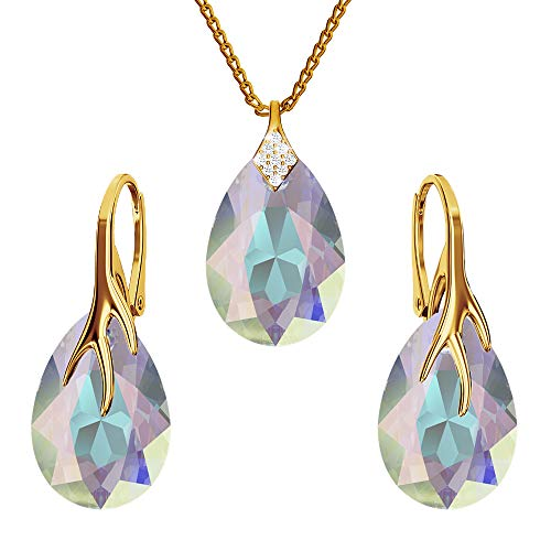 Gold-plated 24K 925-sterling silver jewelry set with crystals from Swarovski - Claw pear - Many colors - Earrings Necklace with pendant - Jewelry for women with a gift box (Crystal AB)