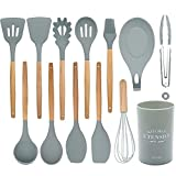 Silicone kitchen utensil set, 13-piece cutlery set with wooden handle, non-stick cookware, cooking kitchen gadget silicone spatula (gray)