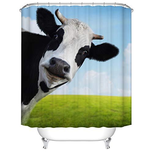 X-Labor Duschvorhang Wasserabweisend Anti-Schimmel inkl. 12 Duschvorhangringe Badewannevorhang für Badezimmer Shower Curtain Kuh 180x200cm