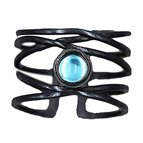 Anillo de piedra lunar, creativo abstracto, líneas de arte lunar, anillo exagerado de oro negro, ajustable para hombre