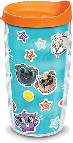 Tervis Disney - Puppy Dog Pals Collage Insulated Tumbler with Wrap and Orange Lid, 10oz Wavy, Clear